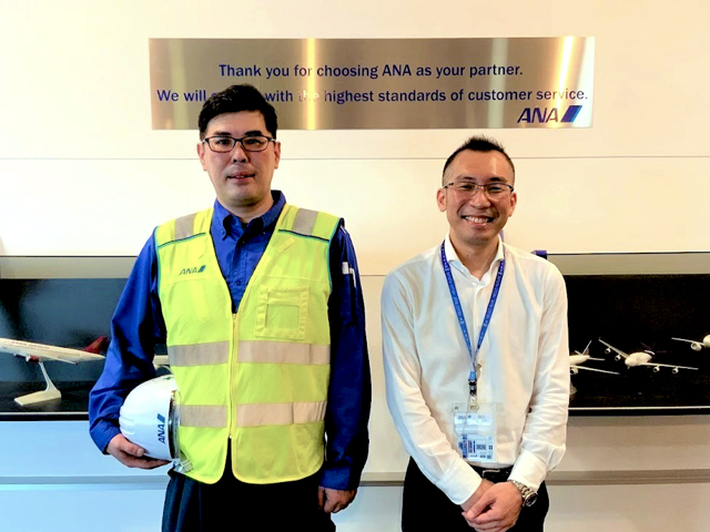 ANAスカイビルサービス株式会社 特殊機械設備事業本部 特殊機械事業部 成田特殊機械課(写真左から)中山様、田口様